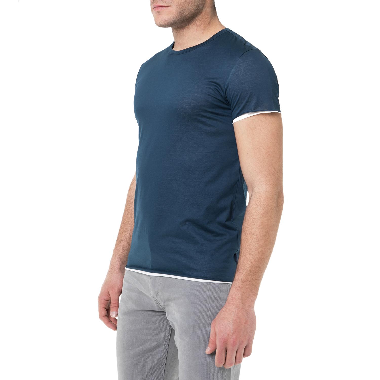 SCOTCH & SODA - Ανδρική κοντομάνικη μπλούζα SCOTCH & SODA μπλε ανδρικά ρούχα μπλούζες κοντομάνικες