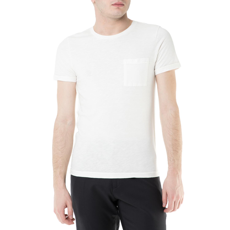 SCOTCH & SODA - Ανδρική κοντομάνικη μπλούζα Scotch & Soda λευκή ανδρικά ρούχα μπλούζες κοντομάνικες