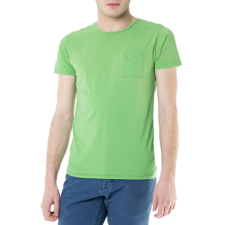 SCOTCH & SODA - Ανδρική κοντομάνικη μπλούζα Scotch & Soda πράσινη ανδρικά ρούχα μπλούζες κοντομάνικες