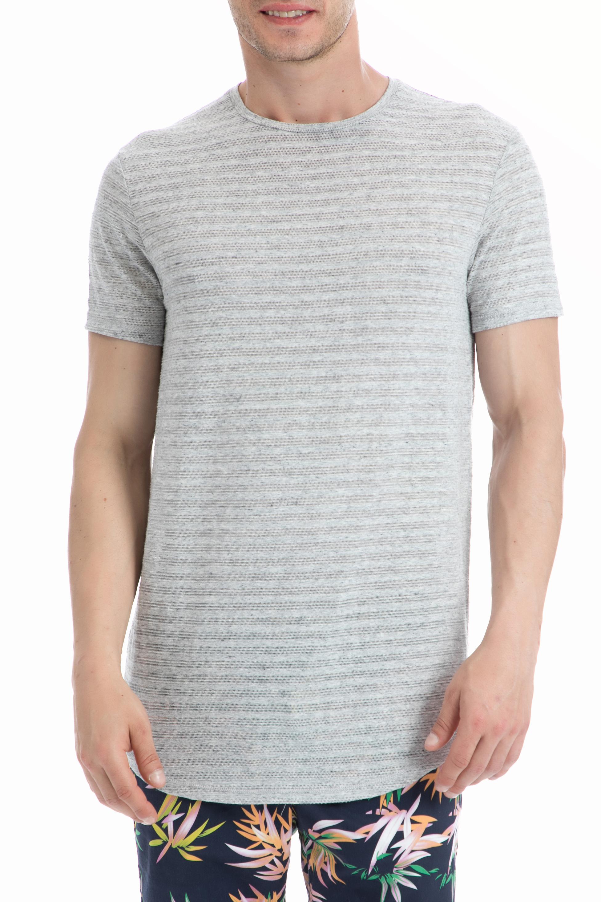 SCOTCH & SODA - Ανδρική μπλούζα SCOTCH & SODA γκρι-μπεζ ανδρικά ρούχα μπλούζες κοντομάνικες