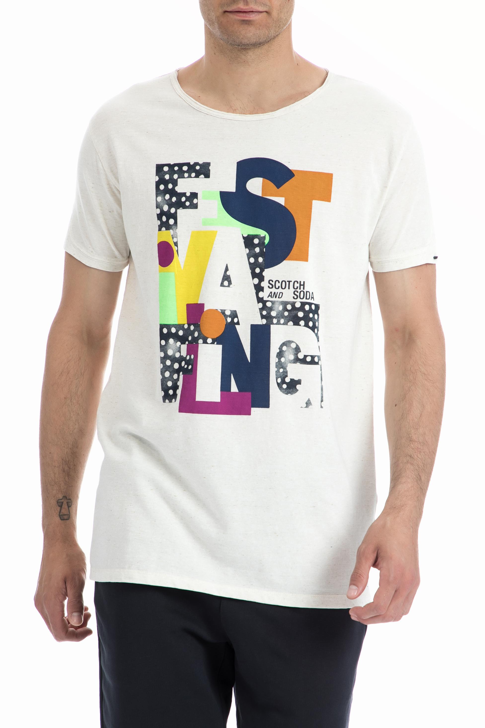 SCOTCH & SODA - Ανδρική μπλούζα SCOTCH & SODA λευκή