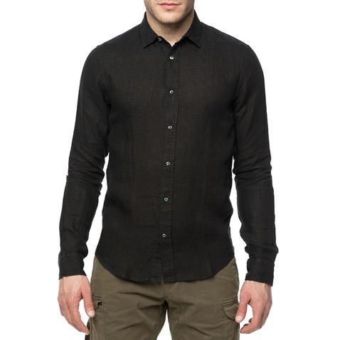 9aae2614e5a4 SCOTCH   SODA-Ανδρικό λινό πουκάμισο Scotch   Soda Longsleeve shirt in  structured μαύρο