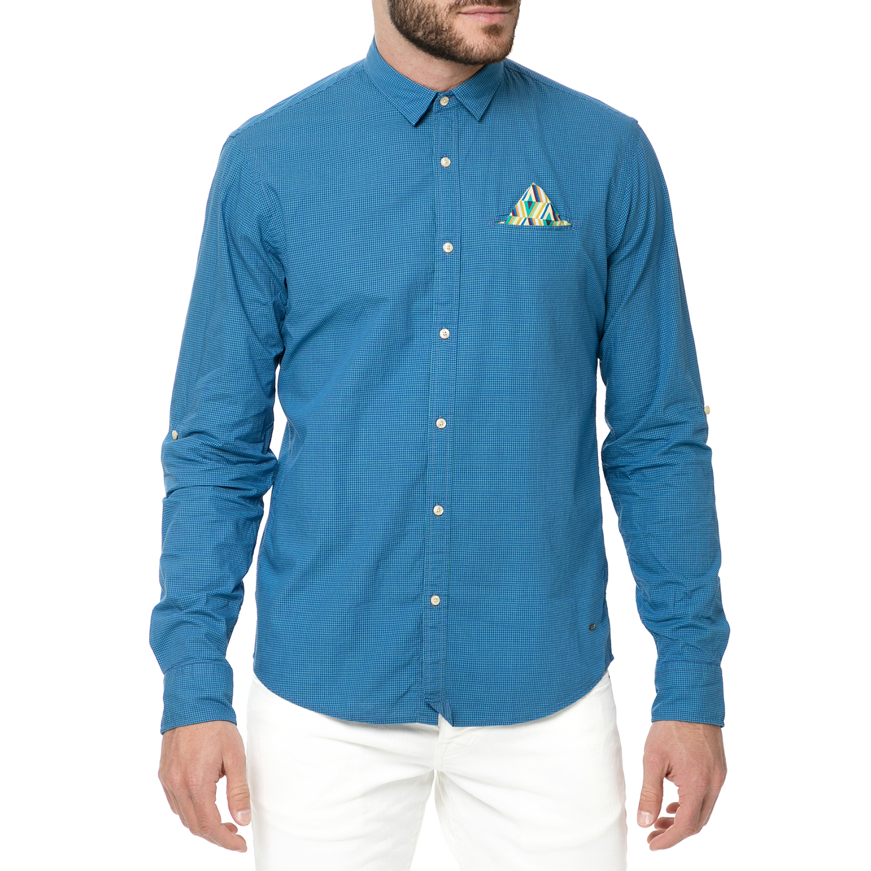 SCOTCH & SODA - Ανδρικό μακρυμάνικο πουκάμισο SCOTCH & SODA μπλε ανδρικά ρούχα πουκάμισα μακρυμάνικα