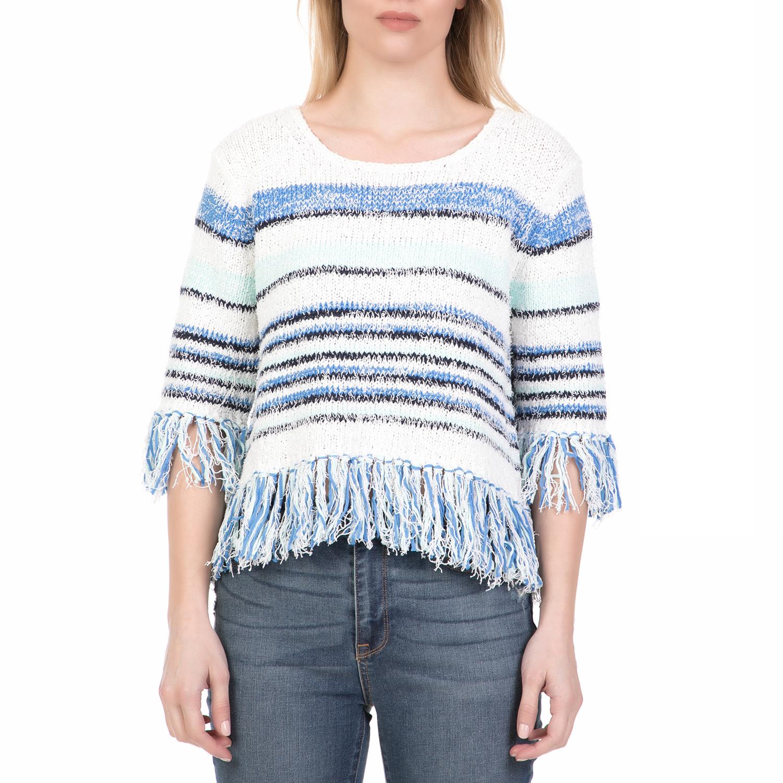 90d09a9da654 JUICY COUTURE - Γυναικεία πλεκτή μπλούζα με κρόσσια FRINGE JUICY COUTURE  ριγέ