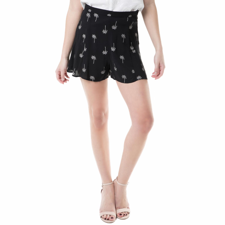 JUICY COUTURE - Γυναικείο ψηλόμεσο σορτς palm tree satin Juicy Couture μαύρο γυναικεία ρούχα σορτς βερμούδες casual jean