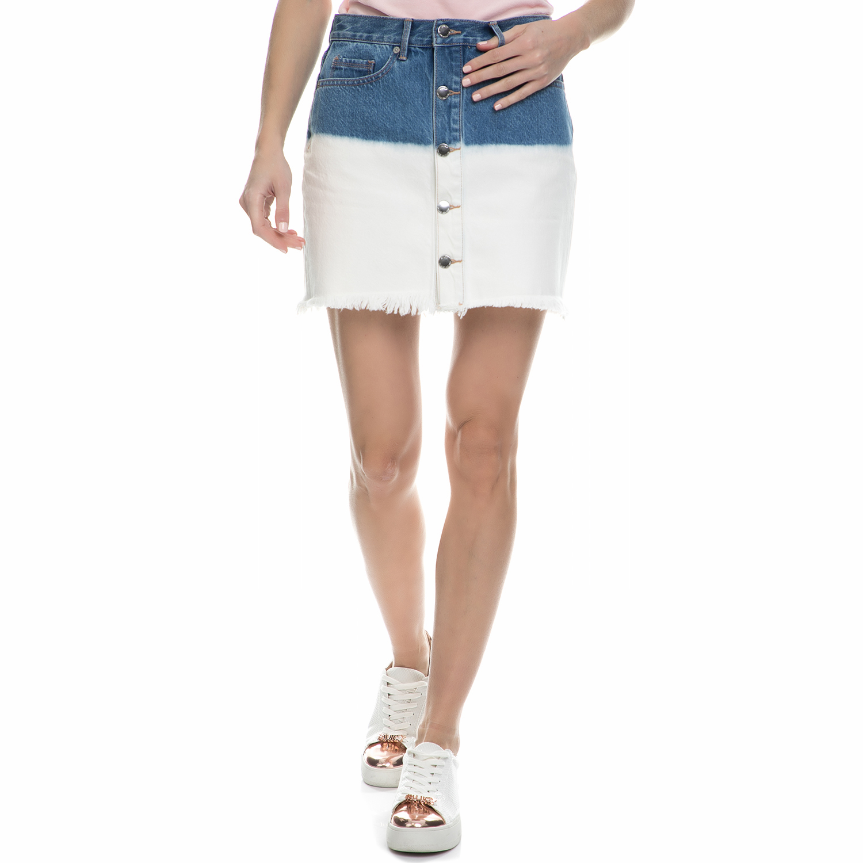 JUICY COUTURE - Γυναικεία μίνι denim φούστα dip dye Juicy Couture λευκή - μπλε