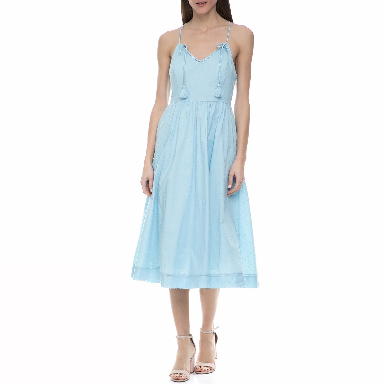 JUICY COUTURE - Γυναικείο midi φόρεμα Juicy Couture γαλάζιο γυναικεία ρούχα φορέματα μέχρι το γόνατο