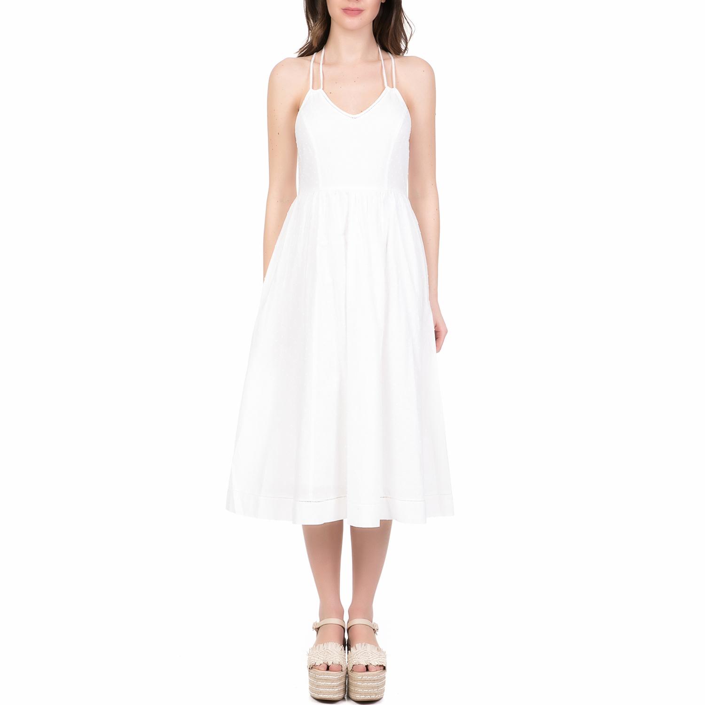 JUICY COUTURE - Γυναικείο midi φόρεμα DOBBY JUICY COUTURE λευκό γυναικεία ρούχα φορέματα μέχρι το γόνατο