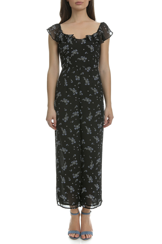 JUICY COUTURE - Ολόσωμη φόρμα JUICY COUTURE μαύρη με φλοράλ μοτίβο γυναικεία ρούχα ολόσωμες φόρμες
