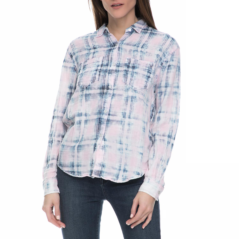 3fb73320404b JUICY COUTURE – Γυναικείο μακρυμάνικο πουκάμισο Juicy Couture καρό ροζ-μπλε