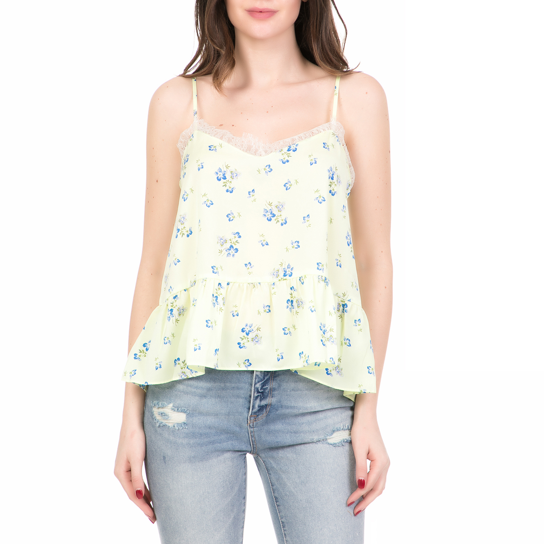 JUICY COUTURE - Γυναικείο τοπ LACE SLIP SOLID JUICY COUTURE κίτρινο γυναικεία ρούχα μπλούζες τοπ