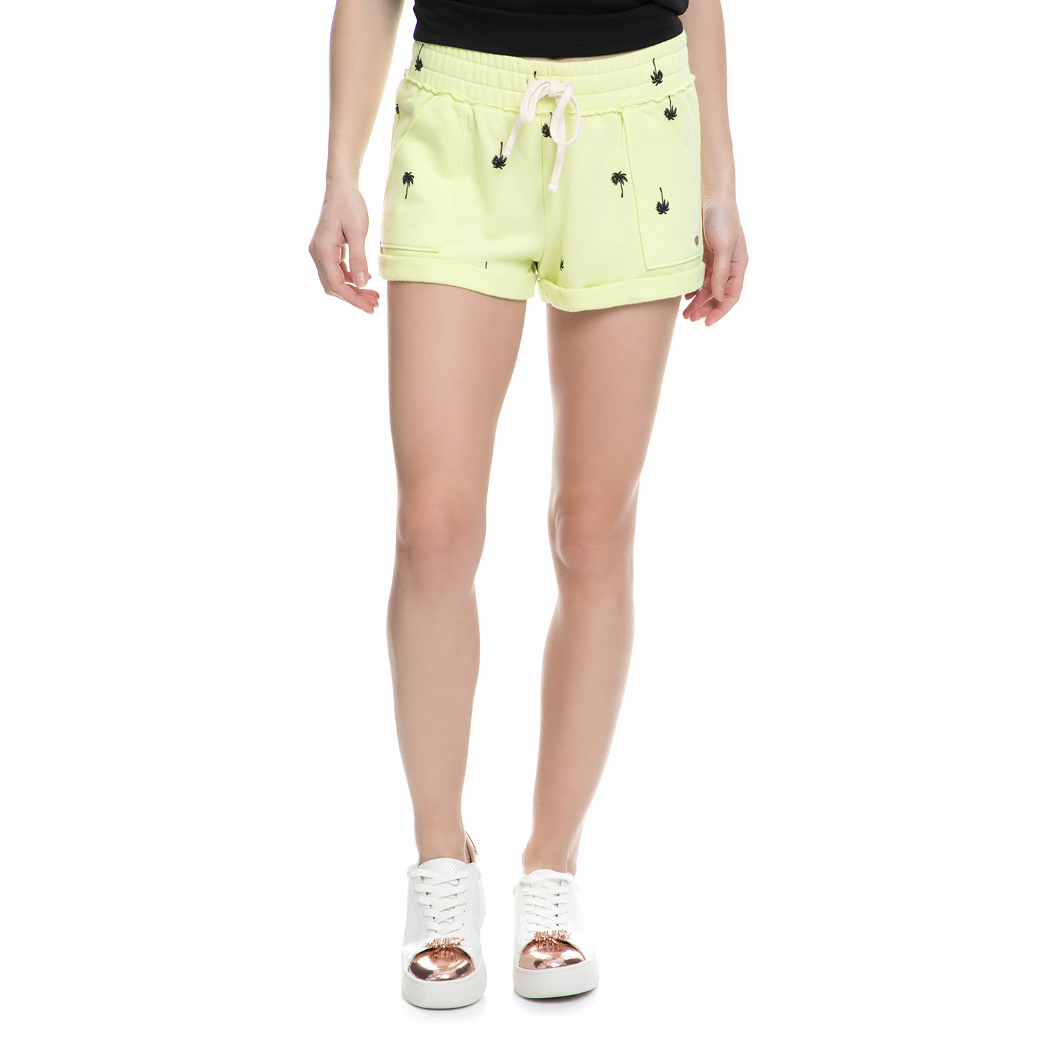 JUICY COUTURE - Γυναικείο σορτς Juicy Couture PALM TREE TERRY ROLL κίτρινο γυναικεία ρούχα σορτς βερμούδες casual jean