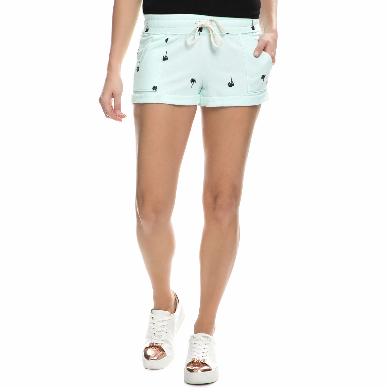 JUICY COUTURE - Γυναικείο σορτς Juicy Couture PALM TREE TERRY ROLL γαλάζιο γυναικεία ρούχα σορτς βερμούδες casual jean