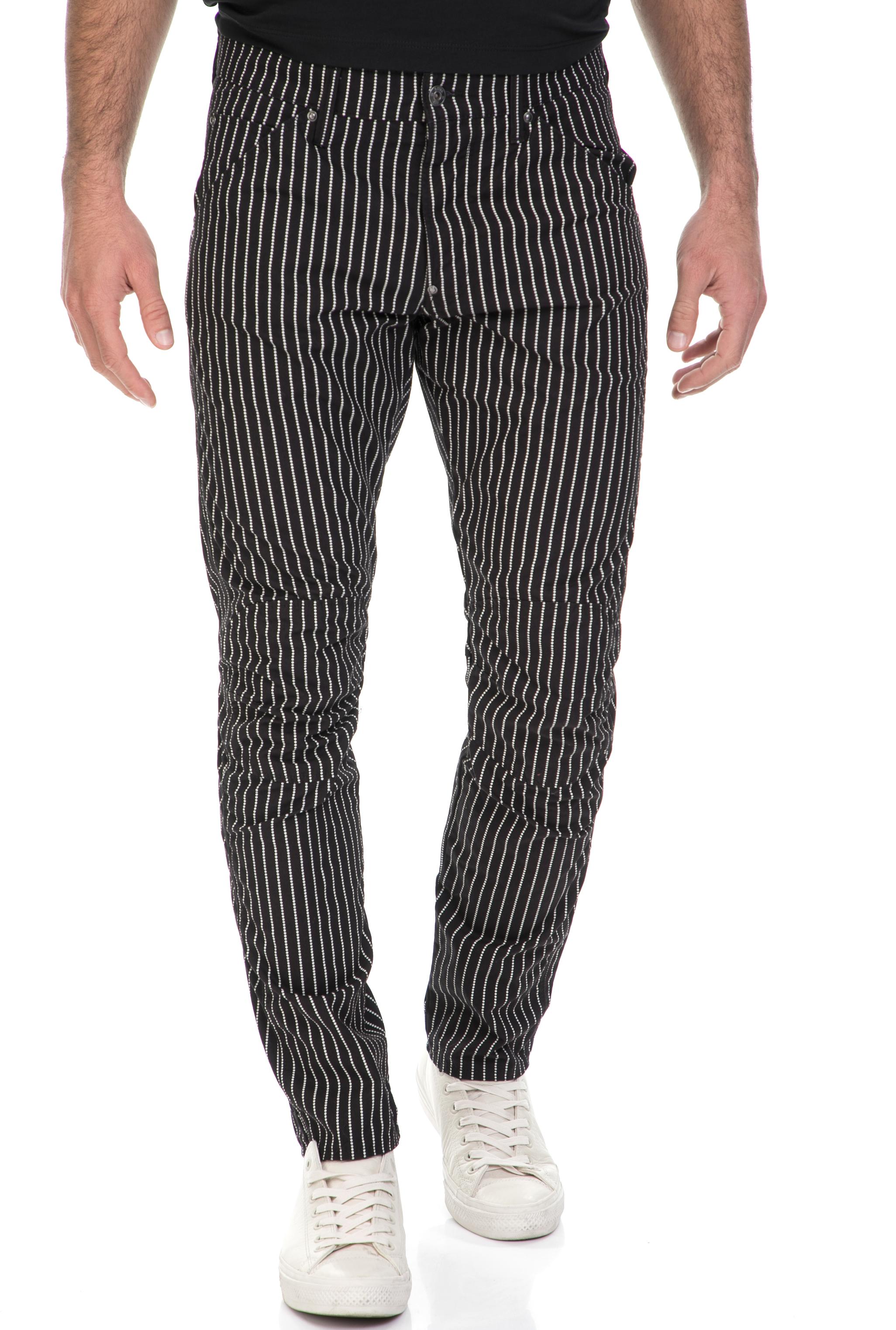 G-STAR - Ανδρικό παντελόνι 3D Tapered COJ G-STAR μαύρο-λευκό ανδρικά ρούχα παντελόνια chinos