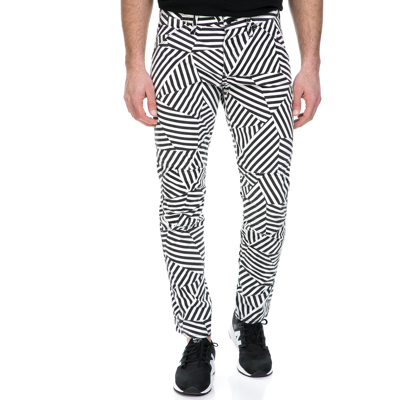 G-STAR RAW - Ανδρικό παντελόνι G-Star Raw 5622 3D Tapered COJ ασπρόμαυρο ανδρικά ρούχα παντελόνια ισια γραμή