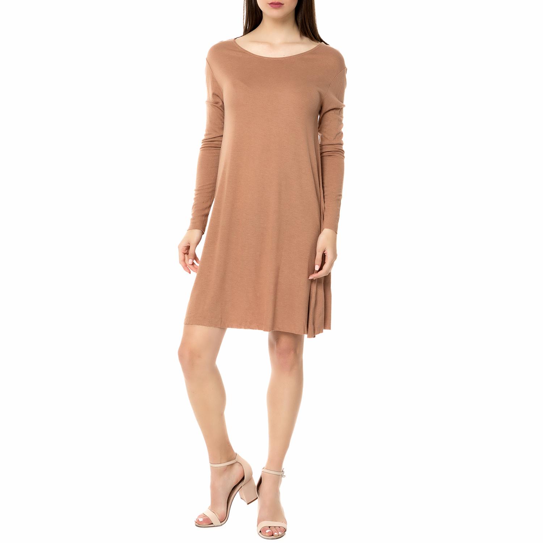 AMERICAN VINTAGE - Γυναικείο μίντι φόρεμα VEL69H16 AMERICAN VINTAGE ανοιχτό καφέ γυναικεία ρούχα φορέματα μέχρι το γόνατο