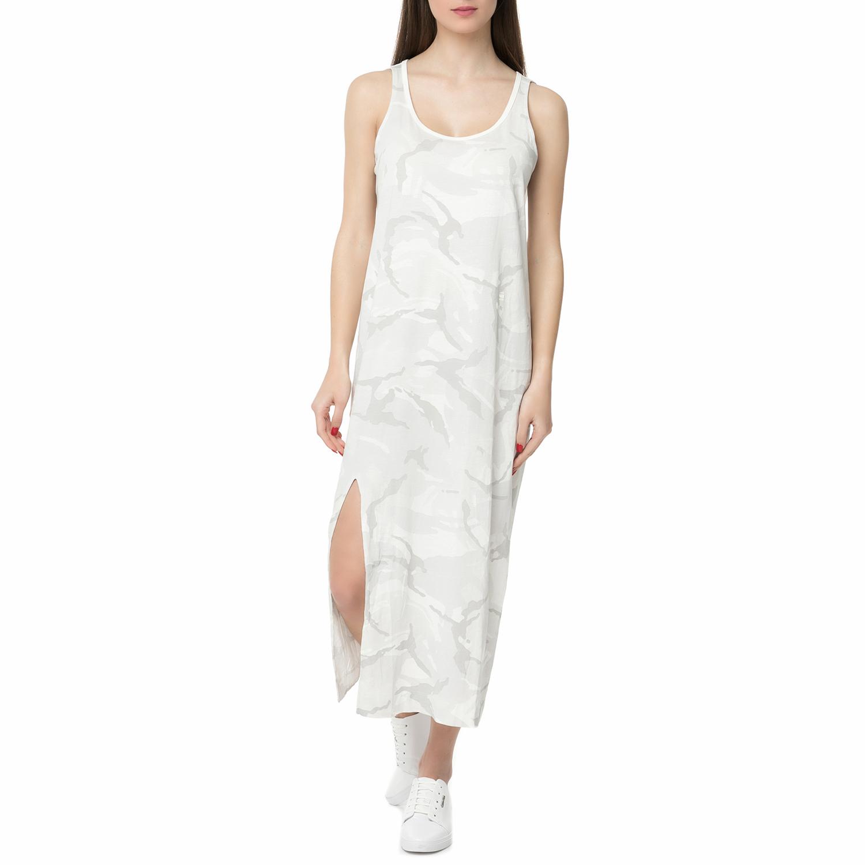 G-STAR RAW - Γυναικείο αμάνικο μάξι φόρεμα Lyker G-STAR RAW λευκό με print γυναικεία ρούχα φορέματα μάξι