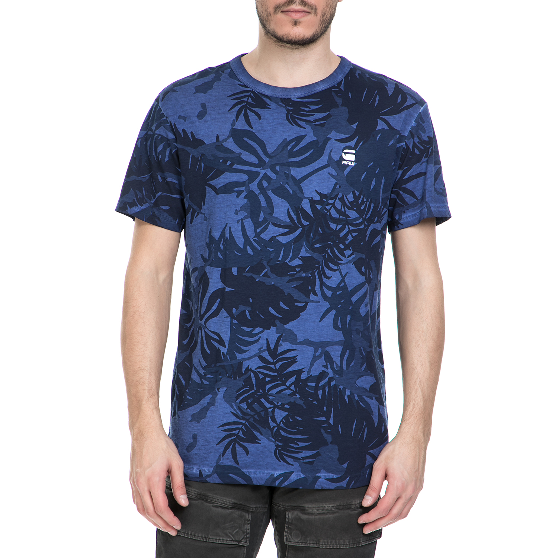 G-STAR RAW - Ανδρική κοντομάνικη μπλούζα G-Star Raw Relax μπλε φλοράλ ανδρικά ρούχα μπλούζες κοντομάνικες