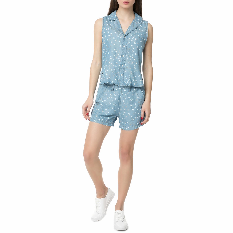 b4b767919af2 G-STAR RAW - Γυναικείο τζιν ολόσωμο σορτς Bronson Short Suit γαλάζιο-λευκό