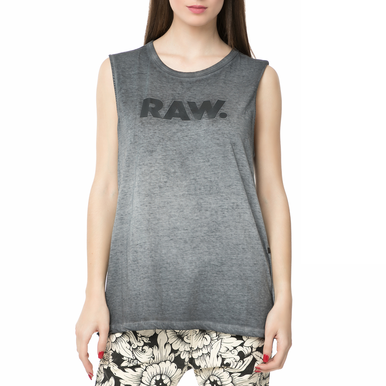 G-STAR RAW - Γυναικεία αμάνικη μπλούζα G-STAR RAW μαύρο ξεθωριασμένο γυναικεία ρούχα μπλούζες αμάνικες