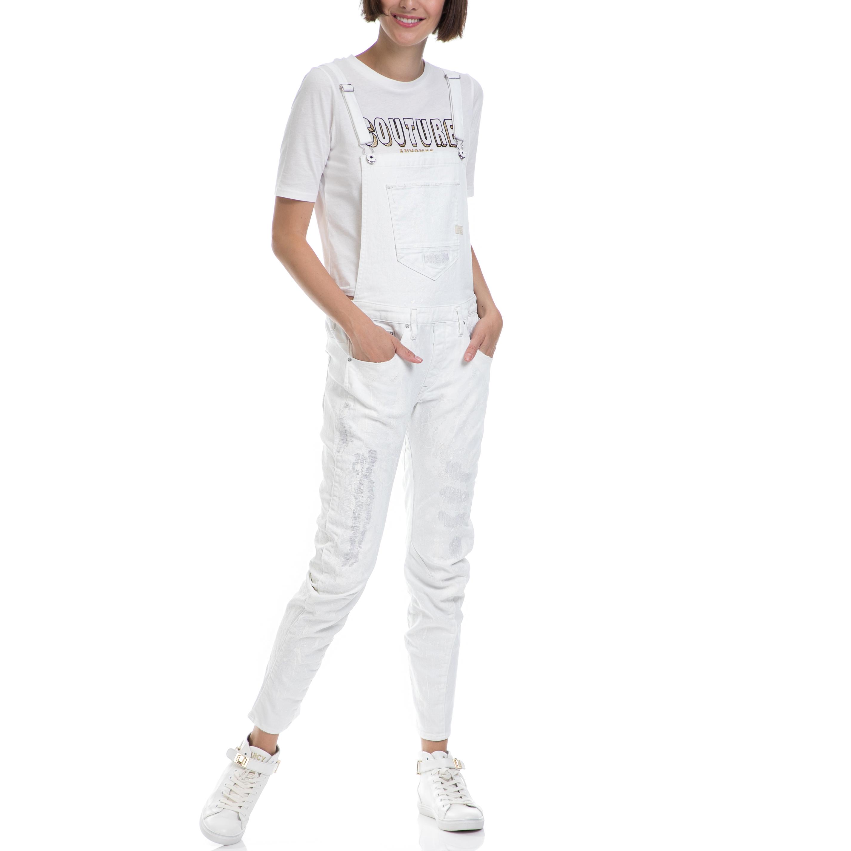 G-STAR - Ολόσωμη φόρμα G-STAR RAW άσπρη γυναικεία ρούχα ολόσωμες φόρμες