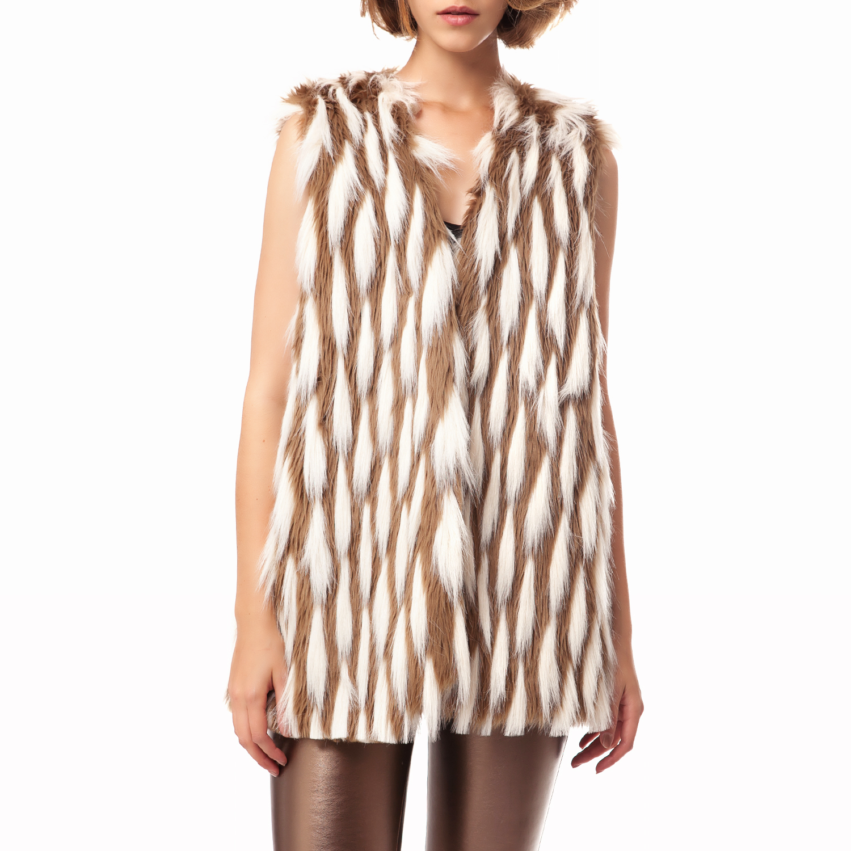 MY TIFFANY - Γυναικείο γιλέκο My Tiffany μπεζ γυναικεία ρούχα πανωφόρια αμάνικα μπουφάν