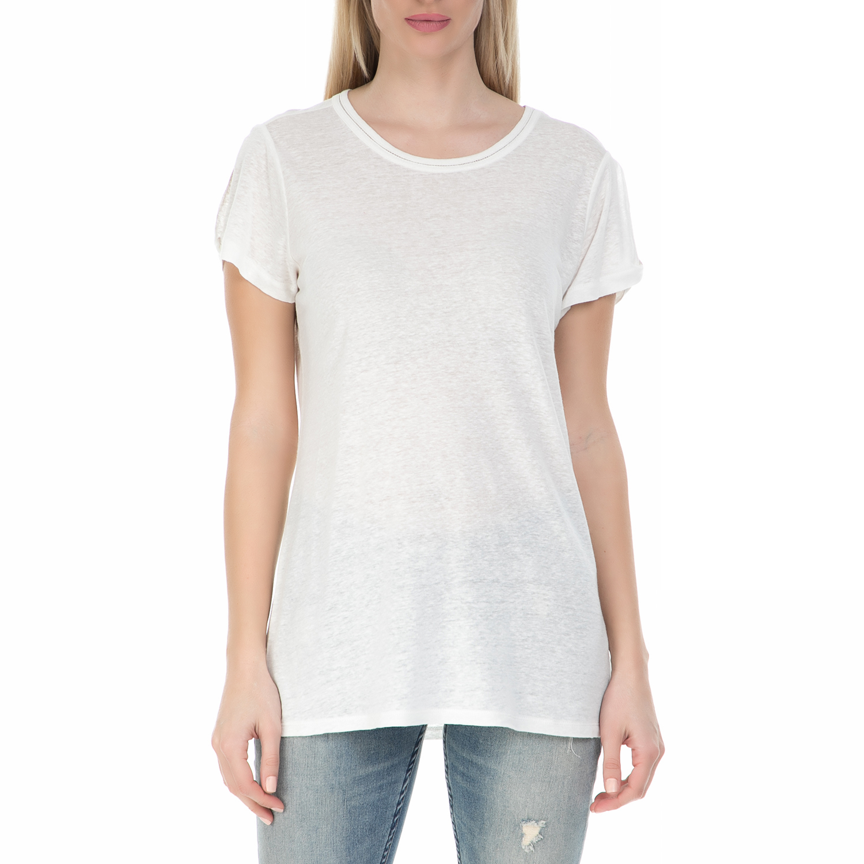 66c1fab3e593 GARCIA JEANS – Γυναικεία κοντομάνικη μπλούζα GARCIA JEANS λευκή