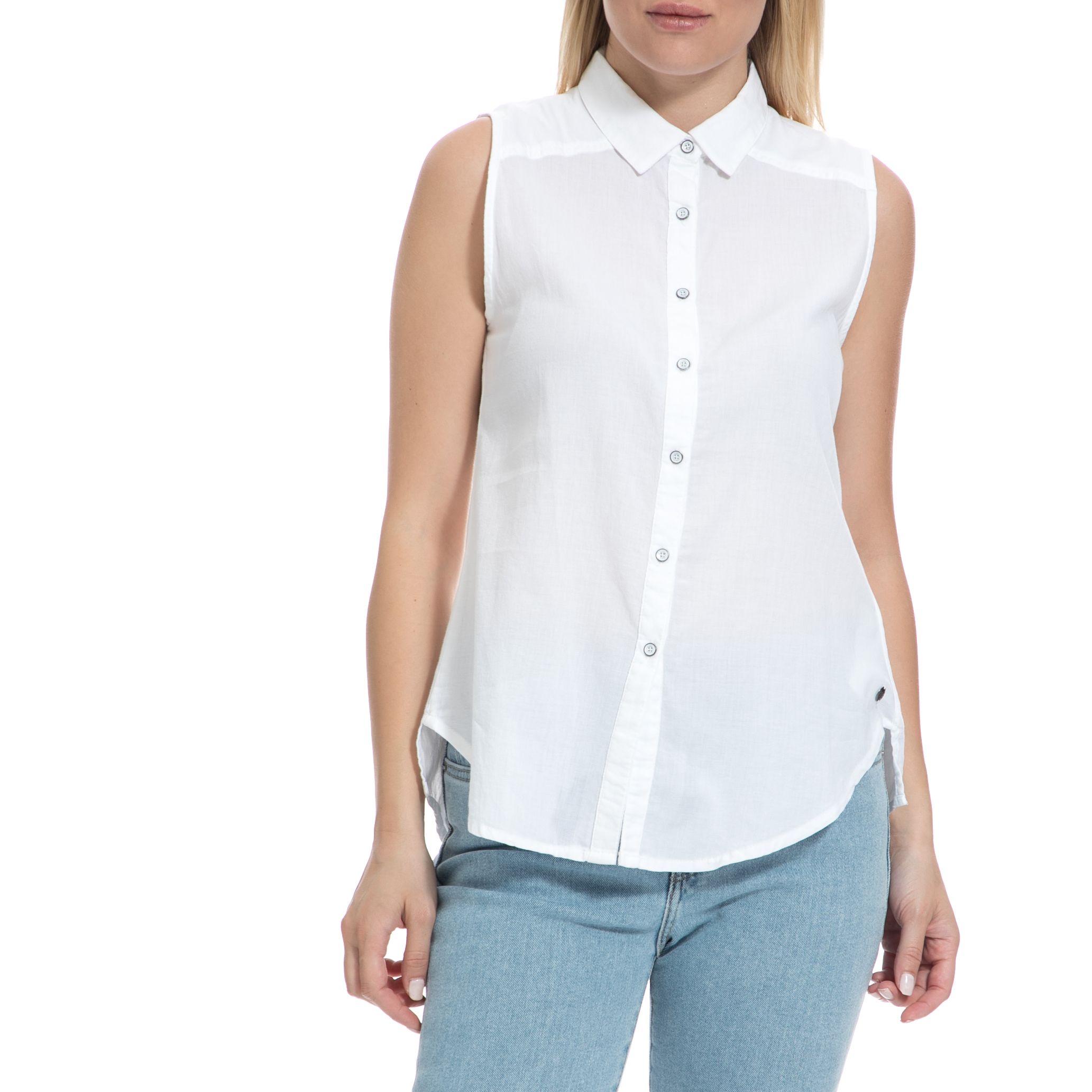 GARCIA JEANS - Γυναικείο πουκάμισο GARCIA JEANS λευκό γυναικεία ρούχα πουκάμισα κοντομάνικα αμάνικα