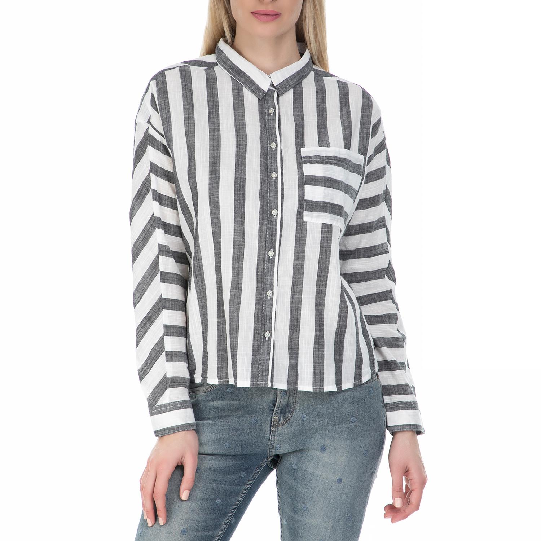 GARCIA JEANS - Γυναικείο μακρυμάνικο πουκάμισο Garcia Jeans ριγέ ασπρόμαυρο γυναικεία ρούχα πουκάμισα μακρυμάνικα