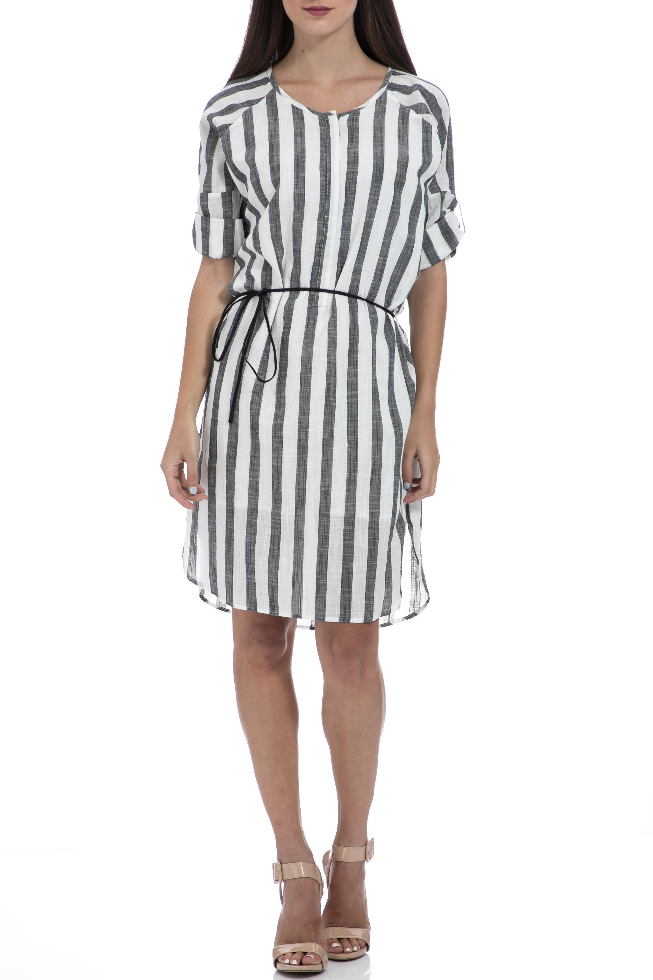 GARCIA JEANS - Γυναικείο φόρεμα Garcia Jeans γκρι-λευκό γυναικεία ρούχα φορέματα μίνι