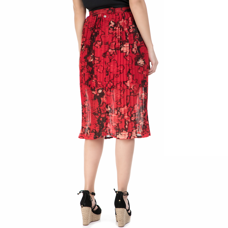 553a9fc6c4f4 GARCIA JEANS - Πλισέ φούστα GARCIA JEANS κόκκινη με φλοράλ μοτίβο ...
