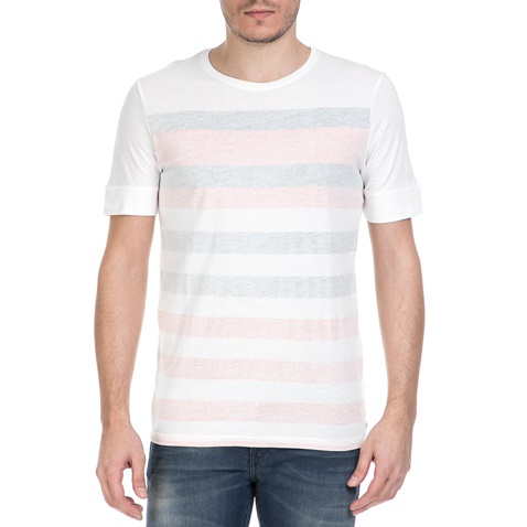 0d365fa7d766 Ανδρική κοντομάνικη μπλούζα GARCIA JEANS λευκή με ρίγες (1538828.0-0091)