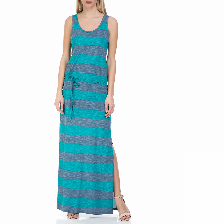 GARCIA JEANS - Μάξι φόρεμα GARCIA JEANS με μπλε ρίγες γυναικεία ρούχα φορέματα μάξι