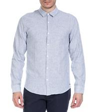 GARCIA JEANS-Ανδρικό λινό πουκάμισο GARCIA JEANS γαλάζιο