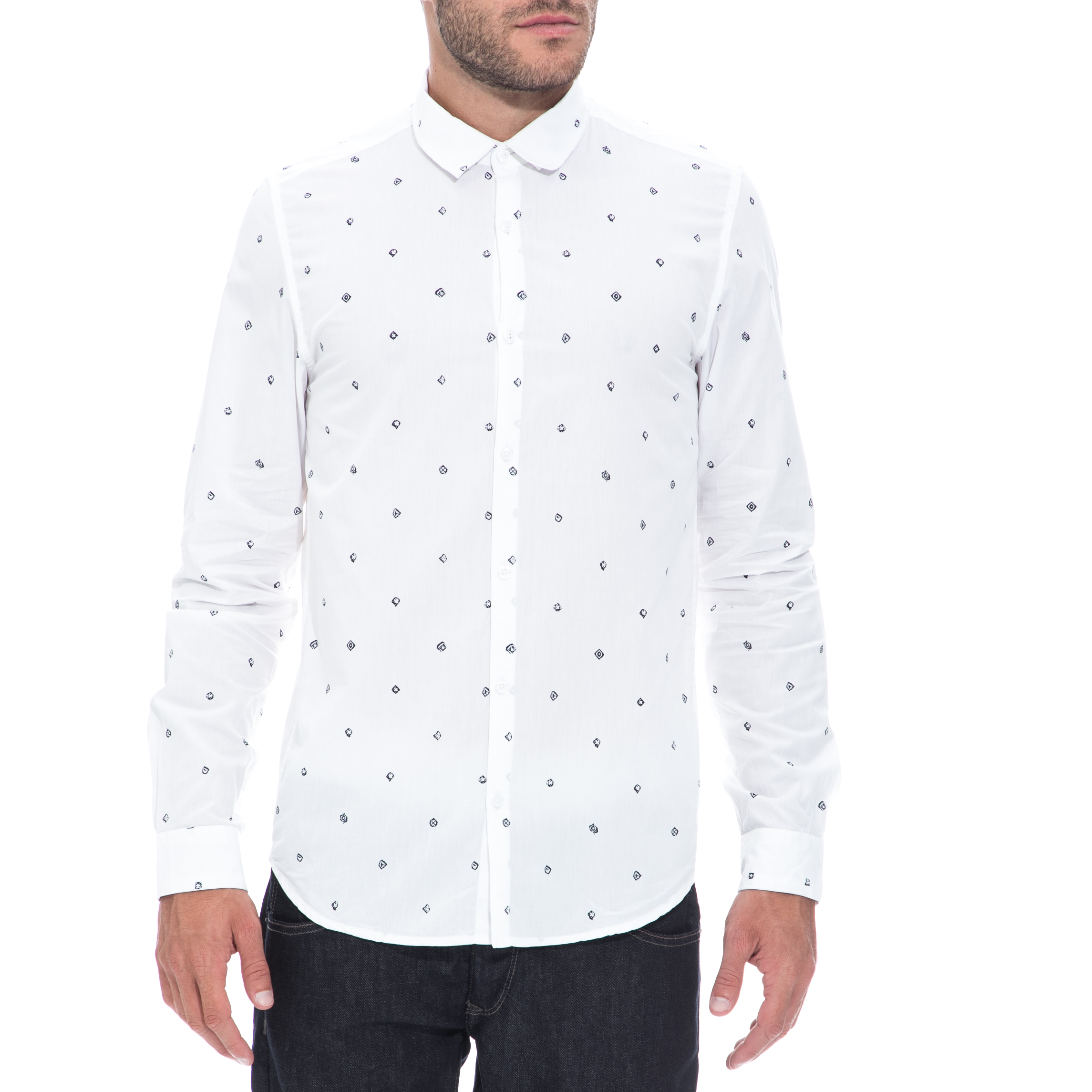 GARCIA JEANS - Αντρικό πουκάμισο GARCIA JEANS άσπρο ανδρικά ρούχα πουκάμισα μακρυμάνικα