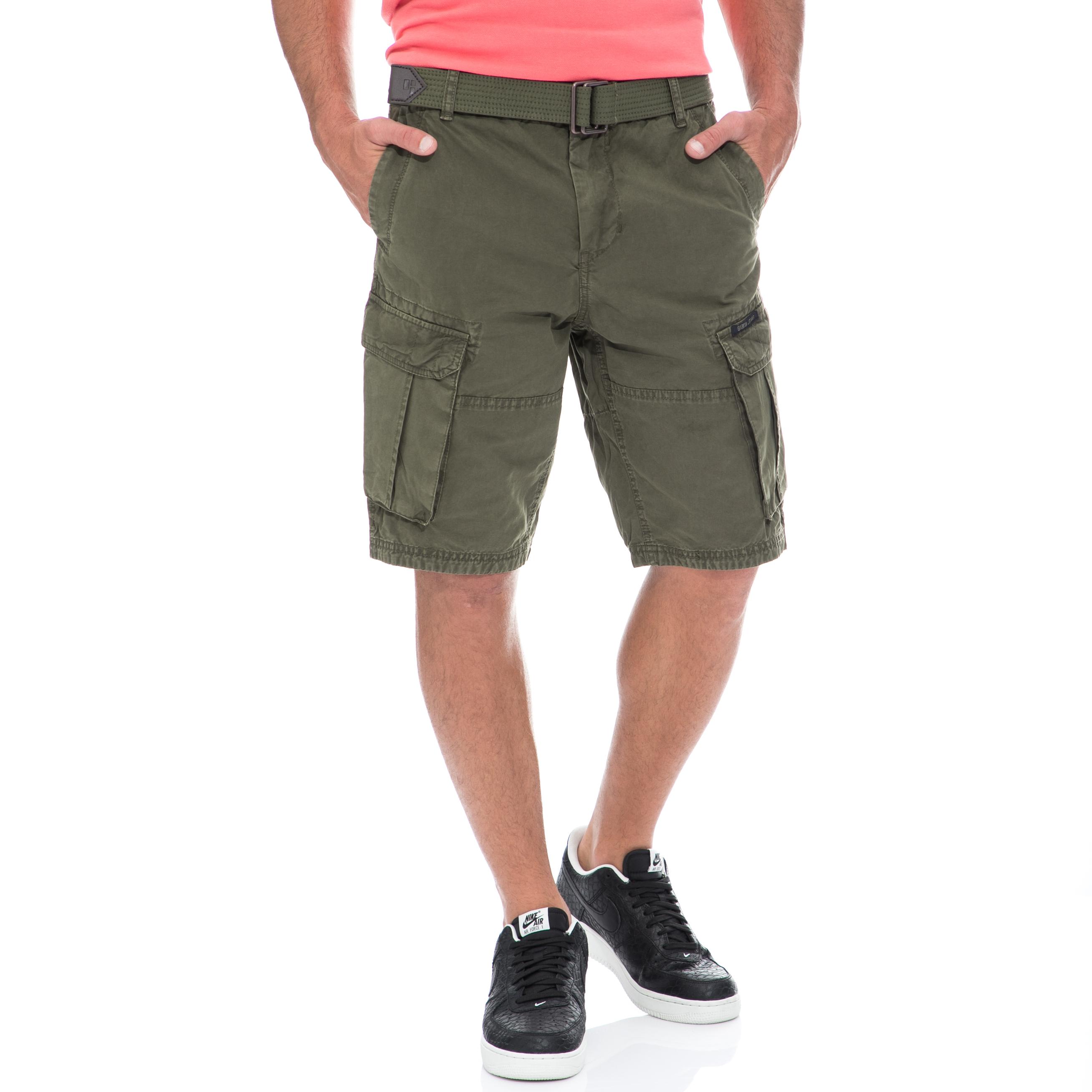 GARCIA JEANS - Αντρική βερμούδα GARCIA JEANS χακί ανδρικά ρούχα σορτς βερμούδες casual jean