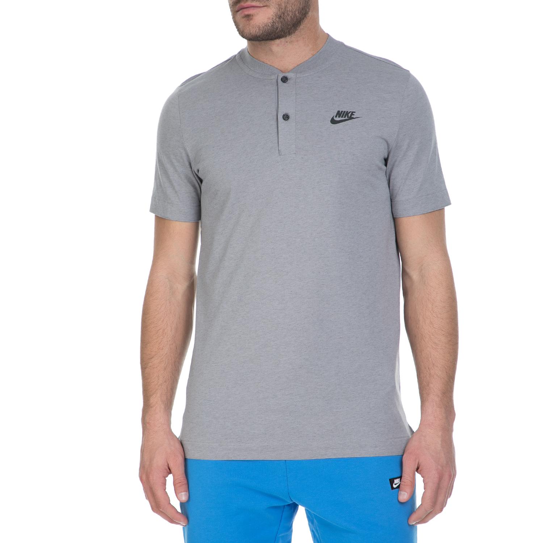 NIKE - Ανδρική πόλο μπλούζα Nike γκρι ανδρικά ρούχα μπλούζες πόλο