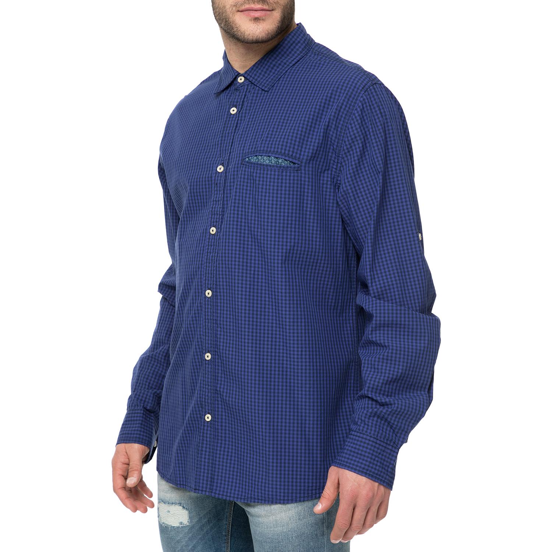 a5b3fc5e30d3 FUNKY BUDDHA - Ανδρικό μακρυμάνικο πουκάμισο FUNKY BUDDHA μπλε με καρό  μοτίβο