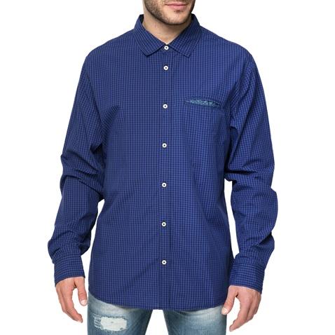 7c87cfe0bc50 Ανδρικό μακρυμάνικο πουκάμισο FUNKY BUDDHA μπλε με καρό μοτίβο  (1540574.0-1e00)