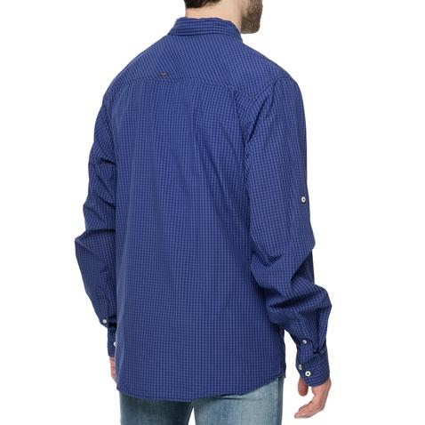 a89b79b4838d Ανδρικό μακρυμάνικο πουκάμισο FUNKY BUDDHA μπλε με καρό μοτίβο ...