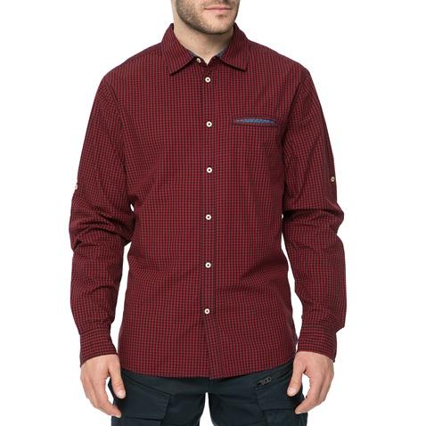 5543f1c959b6 Ανδρικό μακρυμάνικο πουκάμισο FUNKY BUDDHA με καρό μοτίβο κόκκινο-μπλε  (1540574.0-4500)
