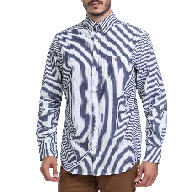 GANT - Ανδρικό πουκάμισο GANT λευκό-μπλε ανδρικά ρούχα πουκάμισα μακρυμάνικα