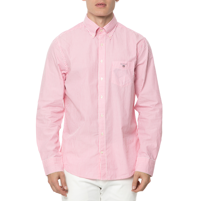 GANT - Ανδρικό ριγέ μακρυμάνικο πουκάμισο GANT ροζ-λευκό ανδρικά ρούχα πουκάμισα μακρυμάνικα