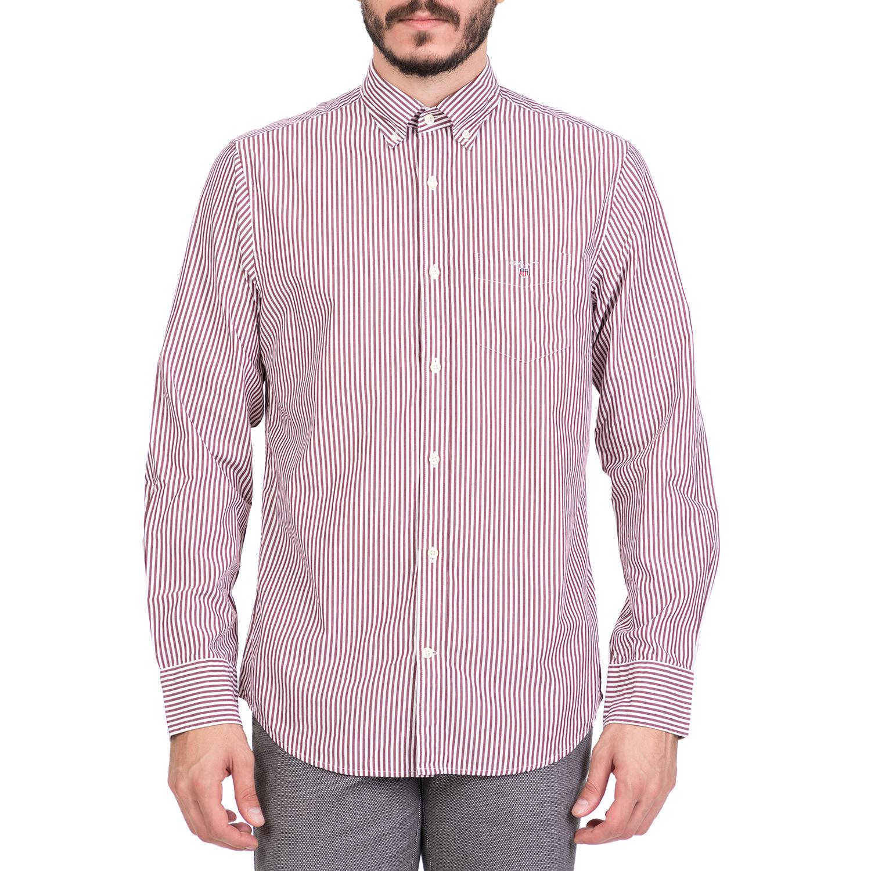 GANT - Ανδρικό μακρυμάνικο ριγέ πουκάμισο GANT κόκκινο ανδρικά ρούχα πουκάμισα μακρυμάνικα