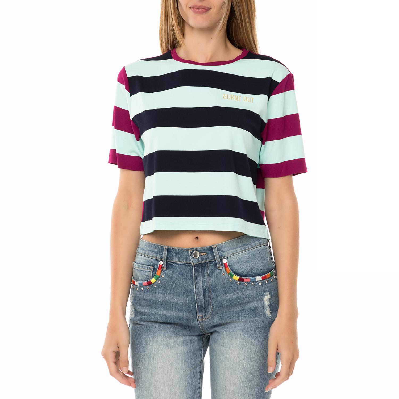 JUICY COUTURE – Γυναικεία κοντομάνικη μπλούζα JUICY COUTURE CATAMARAN MIX  STRIPE ριγέ 76dc013e79d