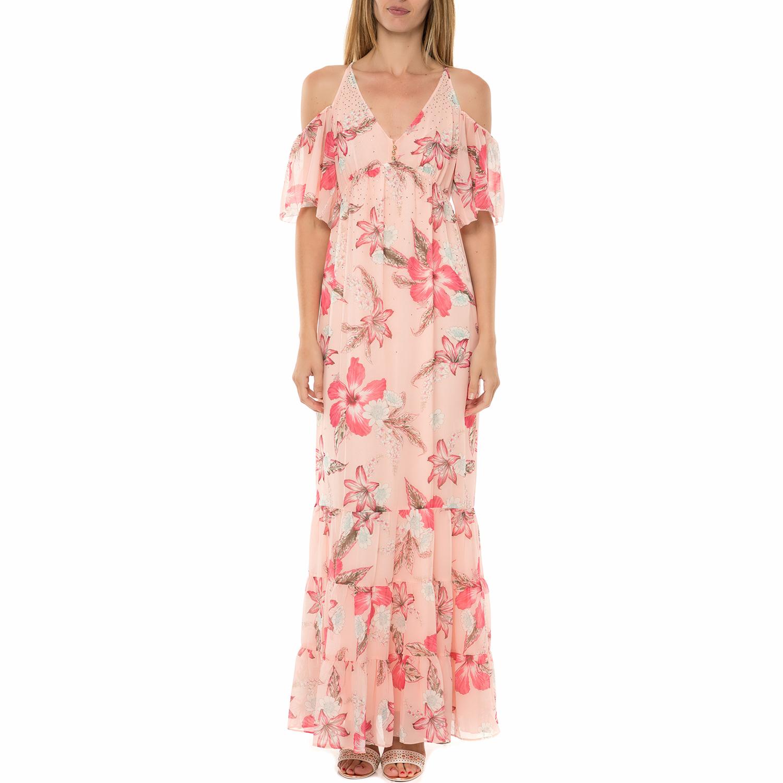 932b884b322d JUICY COUTURE – Γυναικείο μάξι φόρεμα JUICY COUTURE SW HIDDEN COVE FLORAL  ροζ με φλοράλ μοτίβο