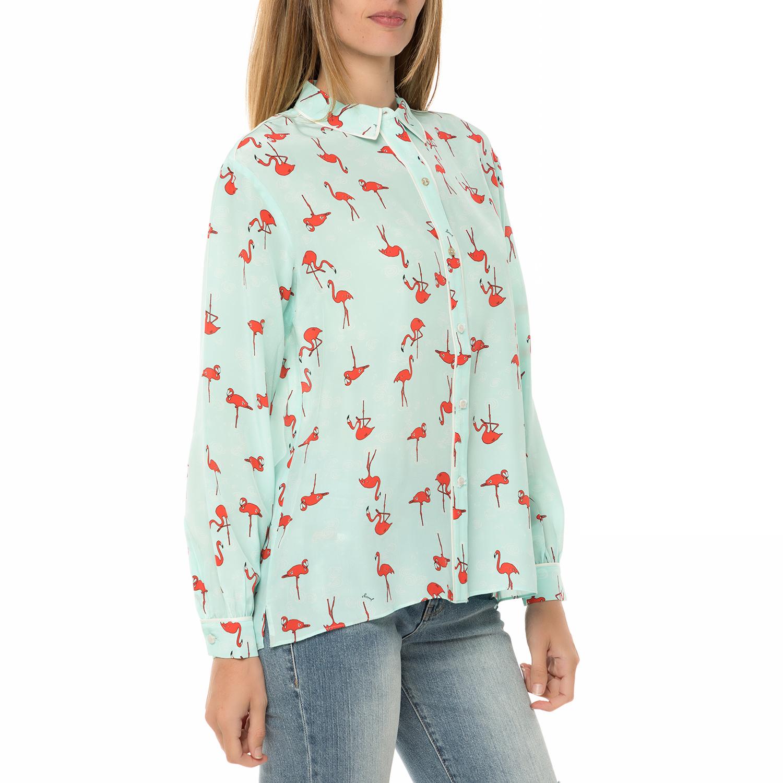 0908f20dbb41 JUICY COUTURE - Γυναικείο μακρυμάνικο πουκάμισο JUICY COUTURE SW FLAMINGO  γαλάζιο με print