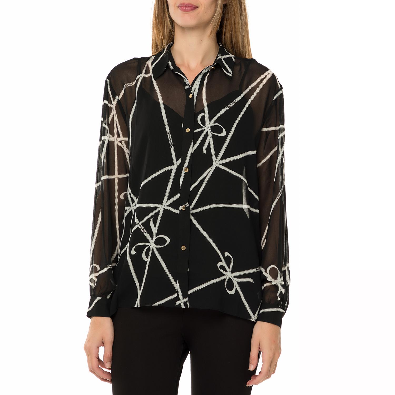 JUICY COUTURE - Γυναικείο μακρυμάνικο πουκάμισο JUICY COUTURE RIBBONS SHIRTING μαύρο με print
