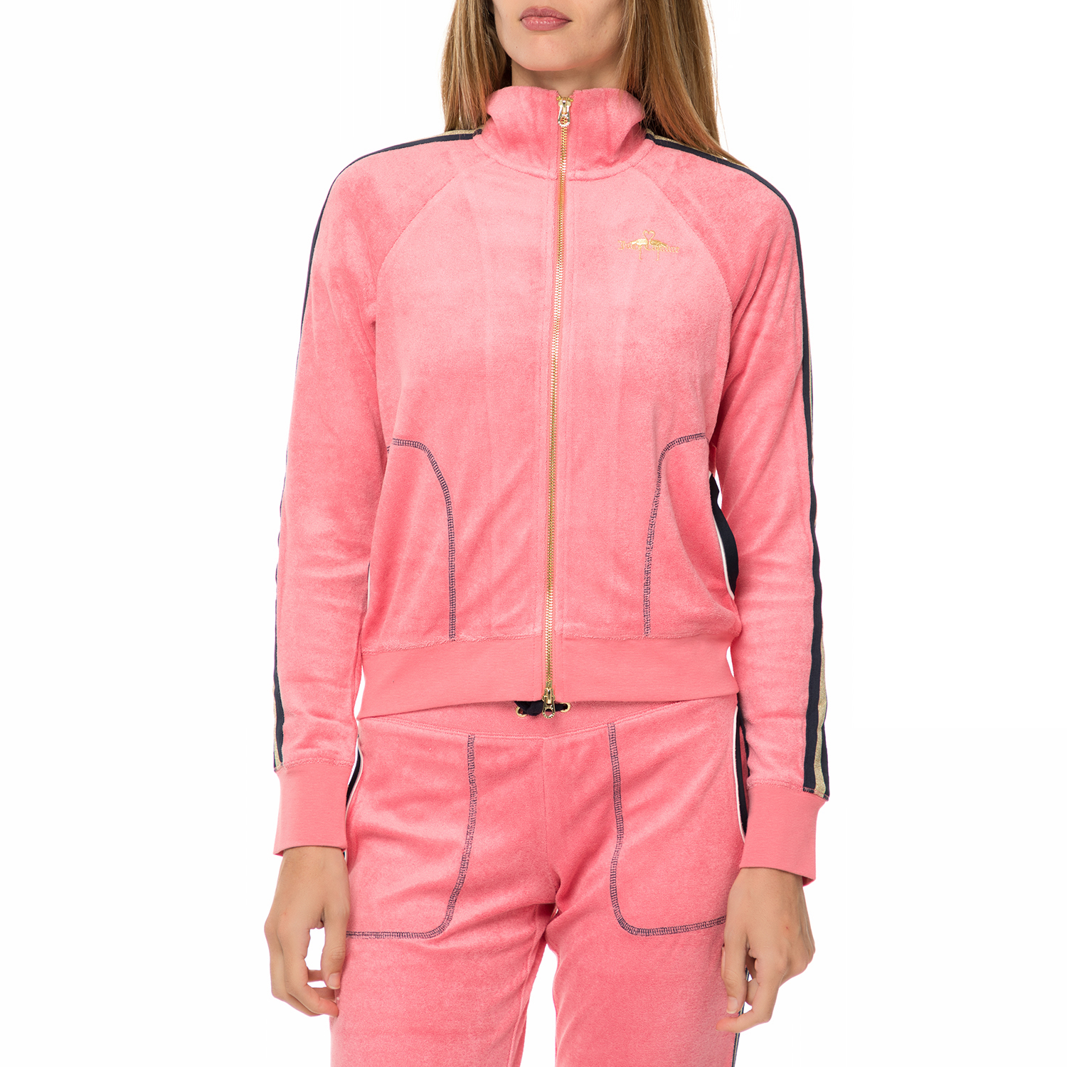 JUICY COUTURE – Γυναικεία φούτερ ζακέτα JUICY COUTURE MICROTERRY FLAMINGO  ροζ c7fa4bb8590