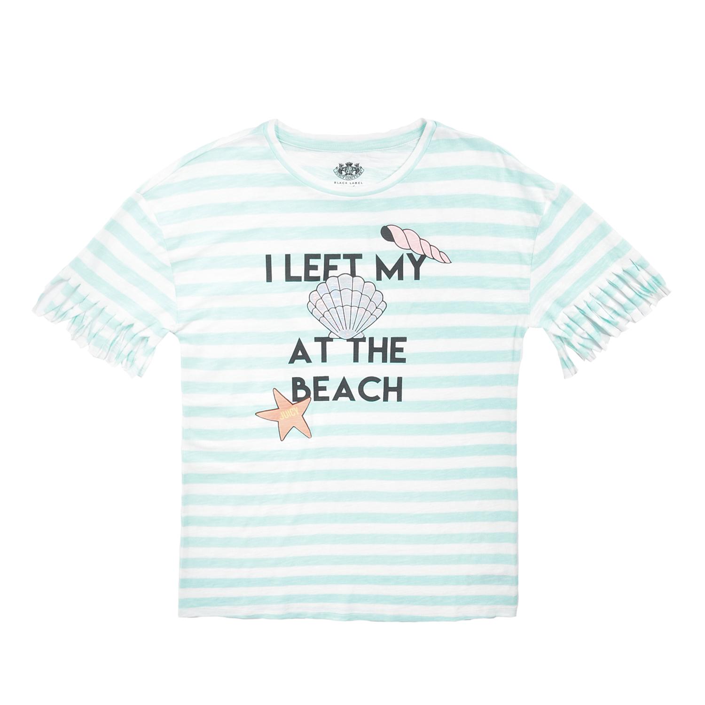751081f129f JUICY COUTURE KIDS - Βαμβακερό φόρεμα JUICY COUTURE BEACH STRIPE FRINGE  λευκό-τιρκουάζ